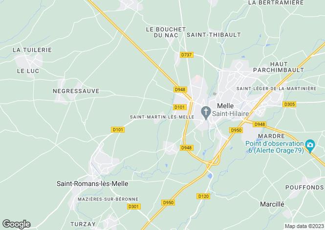 Map for st-martin-les-melle, Deux-Sèvres, France