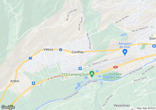 Map for Valais, Conthey
