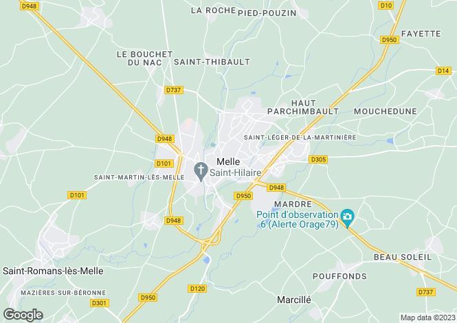 Map for Melle, Poitou-Charentes, 79500, France