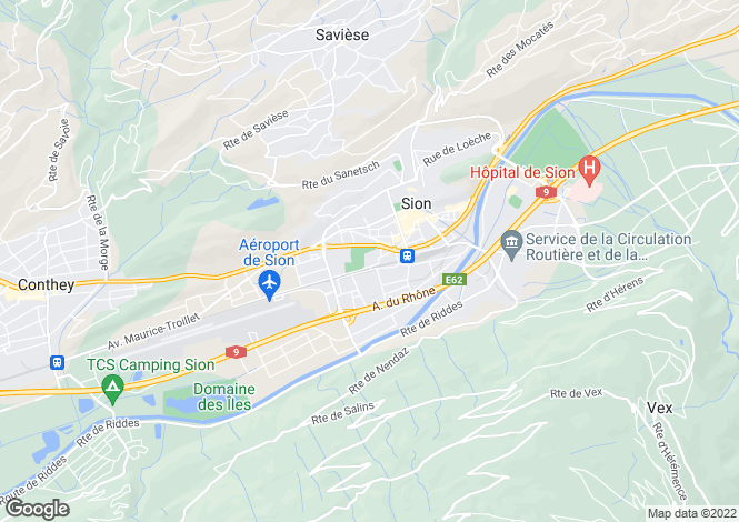 Map for Valais, Sion