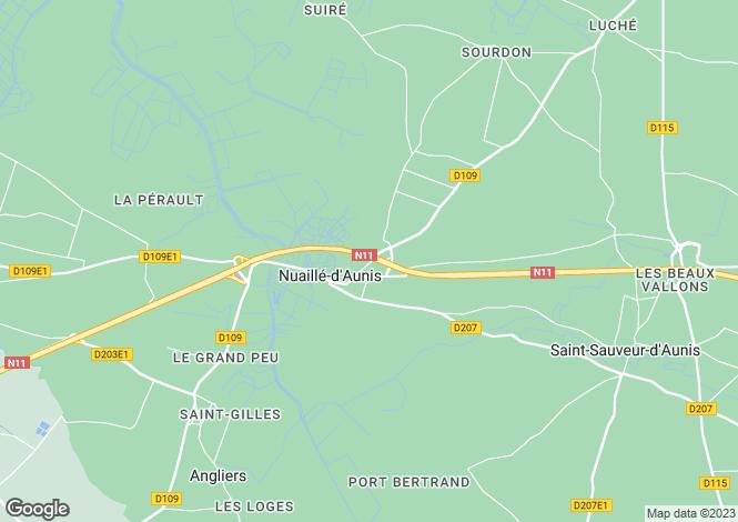 Map for Poitou-Charentes, Charente-Maritime, Nuaillé-d`Aunis