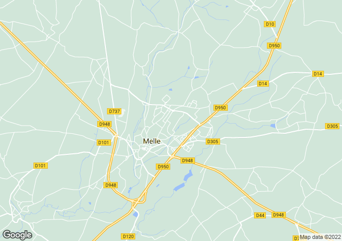 Map for Melle, Deux-Sèvres, 79500, France