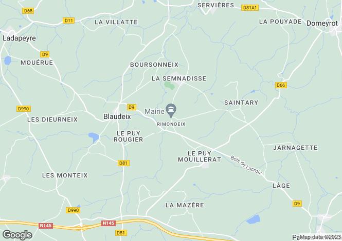 Map for Limousin, Creuse, Rimondeix