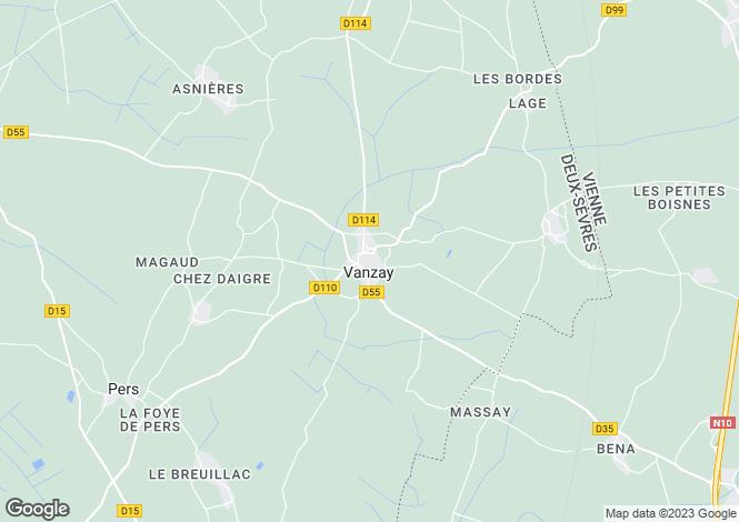 Map for Vanzay, Deux-Sèvres, Poitou-Charentes