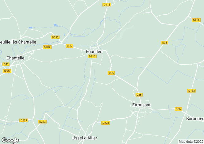 Map for fourilles, Allier, France