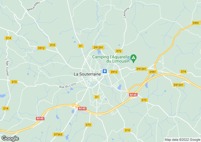 Map for la-souterraine, Creuse, France