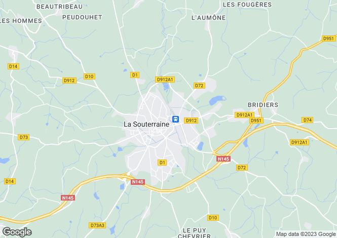 Map for La Souterraine, Creuse, Limousin