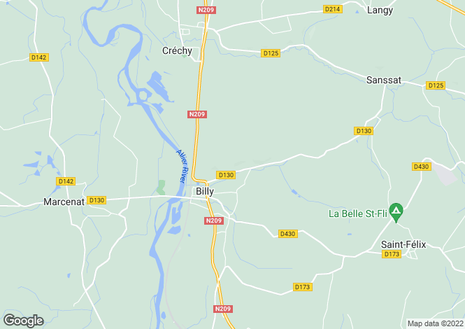 Map for billy, Allier, France