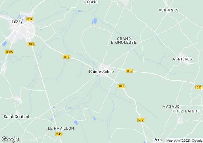 Map for Poitou-Charentes, Deux-Sèvres, Ste-Soline