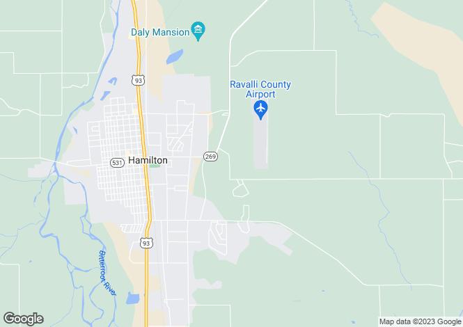 Map for USA - Montana, Ravalli County, Hamilton