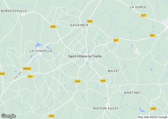 Map for Limousin, Haute-Vienne, St-Hilaire-la-Treille