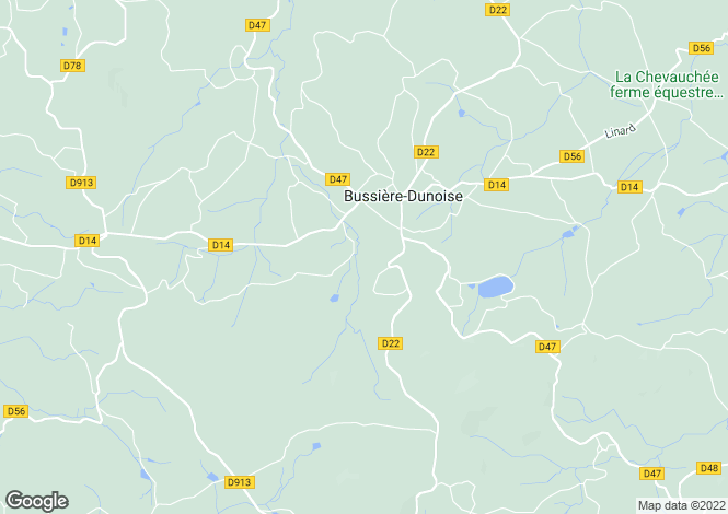 Map for bussiere-dunoise, Creuse, France