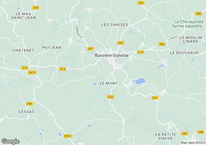 Map for Limousin, Creuse, Bussière-Dunoise