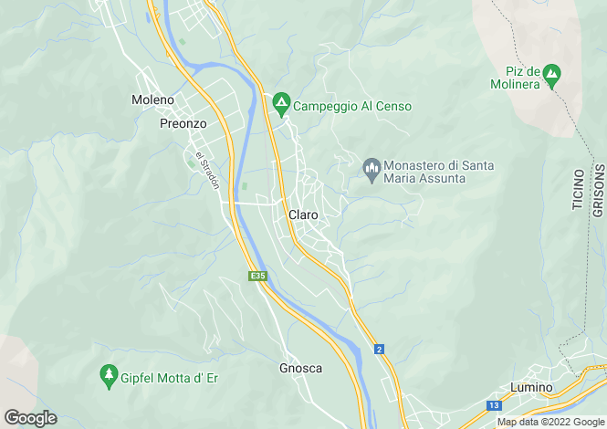Map for Ticino, Claro
