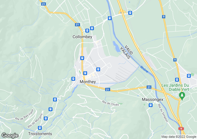 Map for Switzerland - Valais, Monthey