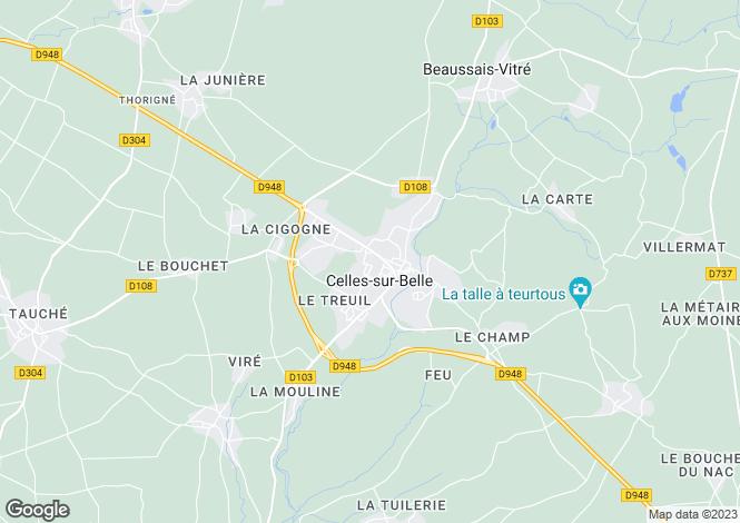 Map for Poitou-Charentes, Deux-Sèvres, Celles-sur-Belle