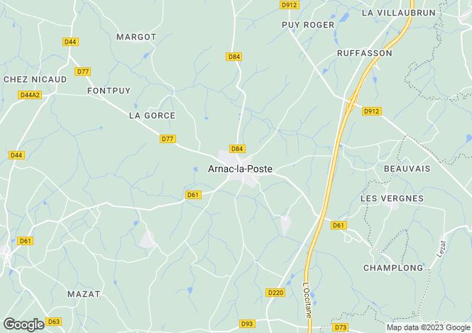 Map for Limousin, Haute-Vienne, Arnac-la-Poste