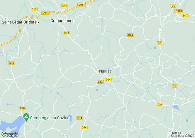 Map for naillat, Creuse, France