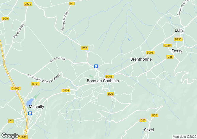 Map for Rhone-Alpes, Haute-Savoie, Bons-en-Chablais