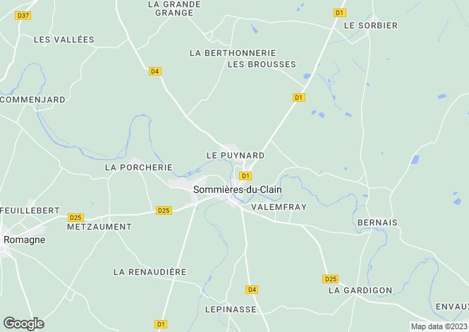 Map for sommieres-du-clain, Vienne, France