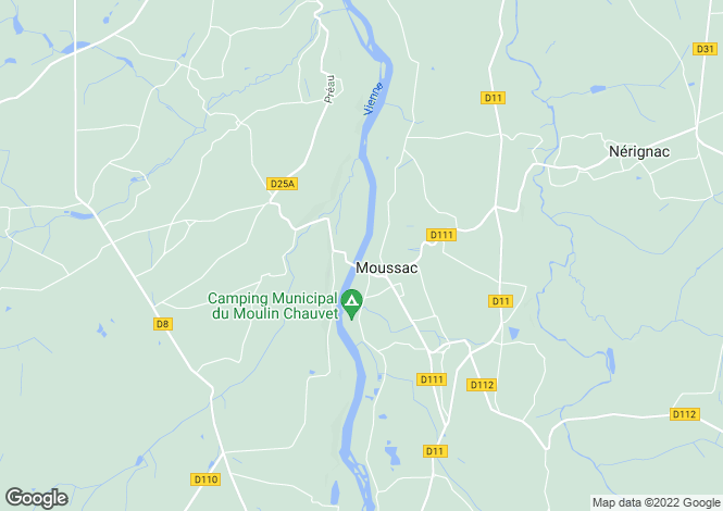 Map for moussac, Vienne, France