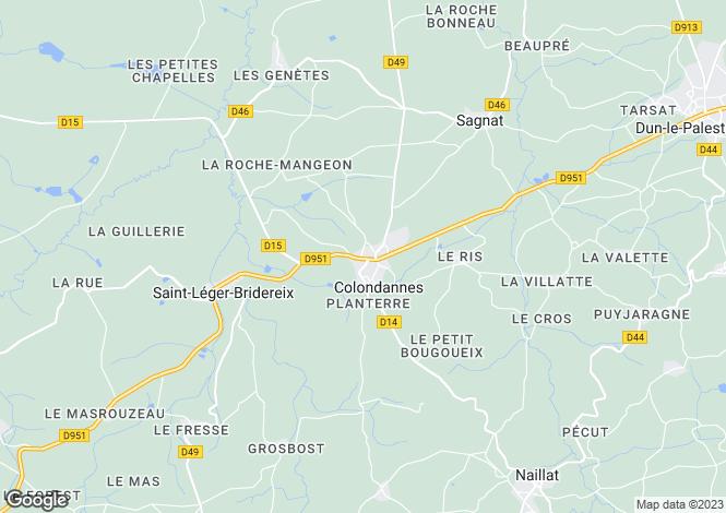Map for Limousin, Creuse, Colondannes