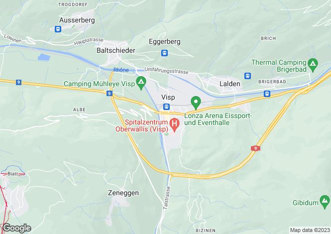 Map for Visp, Valais