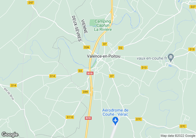 Map for couhe, Vienne, France