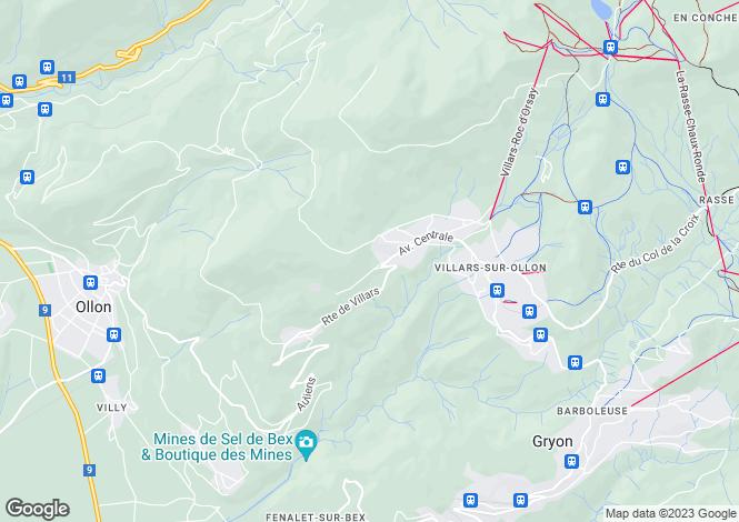 Map for Chesieres, Vaud, 1885, Switzerland