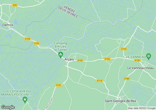 Map for arcais, Deux-Sèvres, France