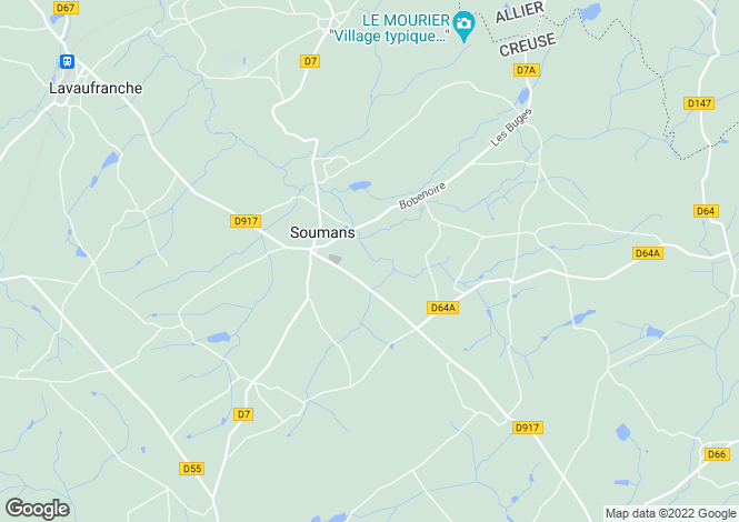 Map for soumans, Creuse, France