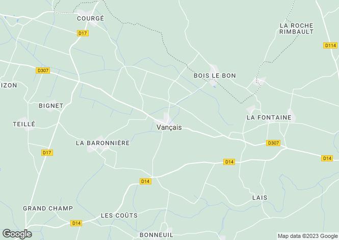 Map for vancais, Deux-Sèvres, France