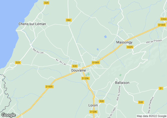 Map for DOUVAINE, LAKE GENEVA/LAC LEMAN, The Alps,