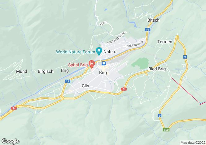 Map for Valais, Brig