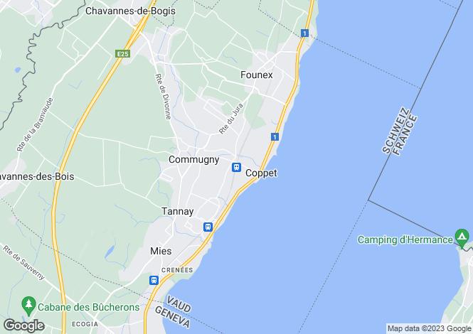 Map for Coppet, Vaud, Switzerland