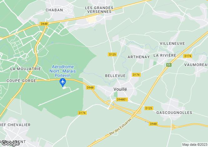 Map for vouille, Deux-Sèvres, France
