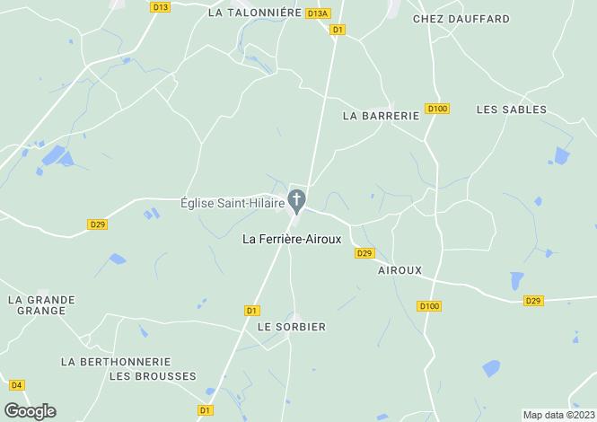 Map for Poitou-Charentes, Vienne, La Ferrière-Airoux