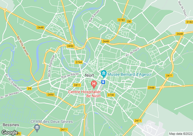 Map for niort, Deux-Sèvres, France