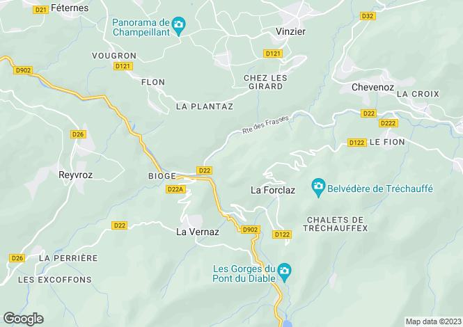 Map for Rhone Alps, Haute-Savoie, La Forclaz