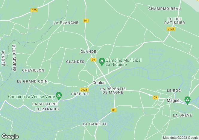 Map for Poitou-Charentes, Deux-Sèvres, Coulon