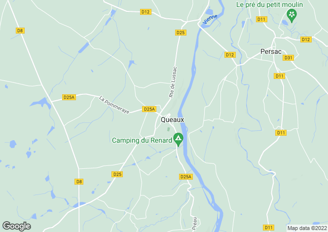 Map for queaux, Vienne, France