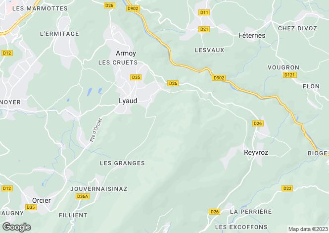 Map for Rhone-Alpes, Haute-Savoie, Lyaud