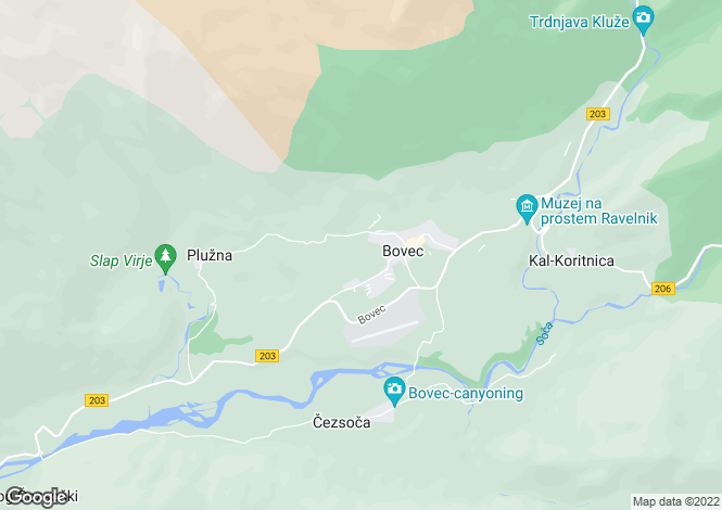 Map for Tolmin, Bovec