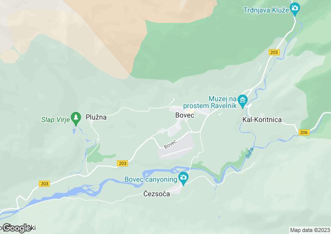 Map for Bovec, Tolmin