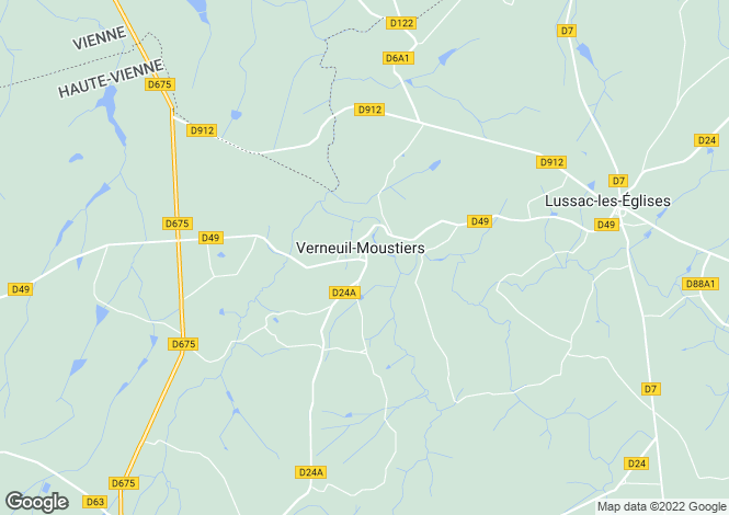 Map for verneuil-moustiers, Haute-Vienne, France
