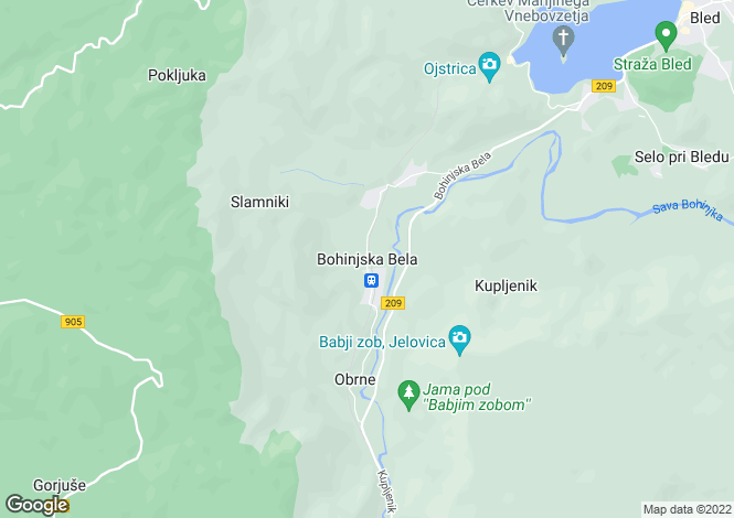 Map for Bohinjska Bela, Upper Carniola, Slovenia