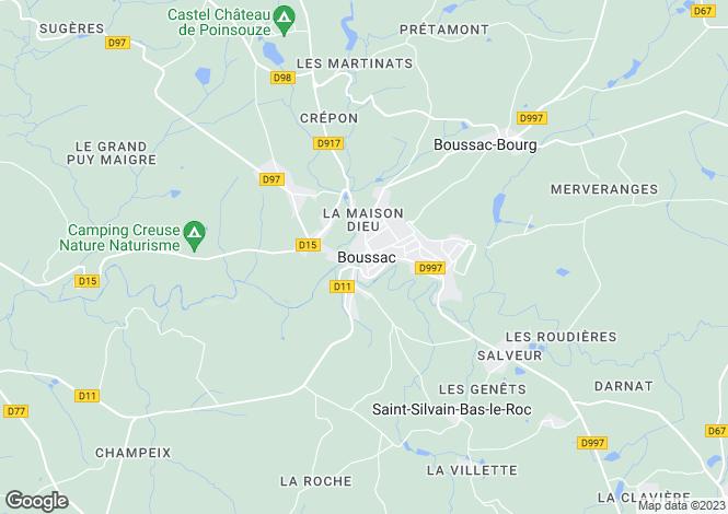 Map for Boussac, Creuse, Limousin