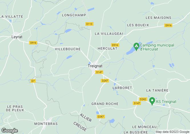 Map for Auvergne, Allier, Treignat