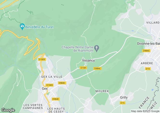 Map for Vesancy, Ain, Rhone Alps