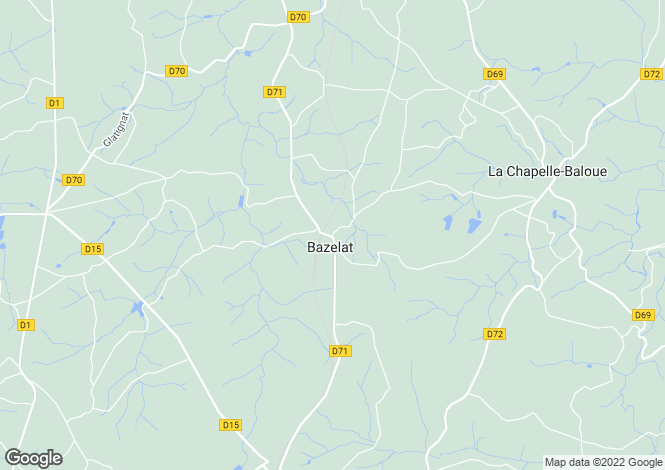 Map for bazelat, Creuse, France